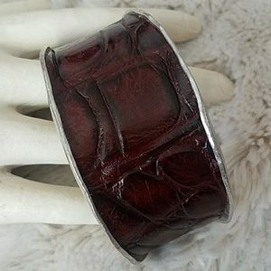 Authentic alligator skin adjustable cuff bracelet
